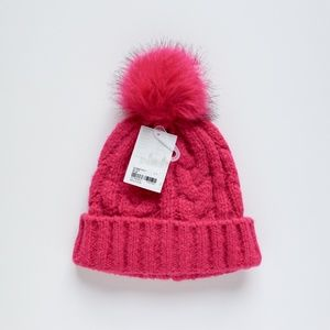 Forever 21 Accessories - Pink Cable Knit Pom Pom Beanie